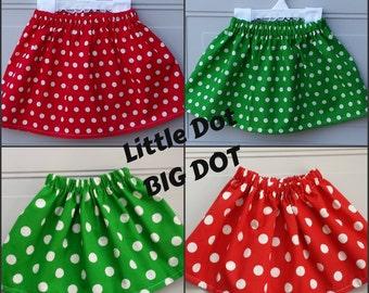 Christmas Skirts, Holiday Skirts, Red Polka Dot Skirts, Green Polka Dot Skirts