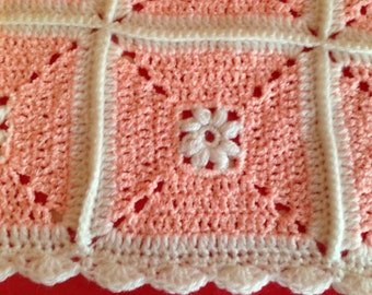 Crochet blanket - Baby blanket - Baby Shower gift - Peachy Pink & White -  Afghan Granny Square blanket