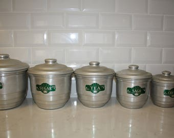 Vintage Tin Canister Set