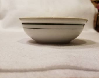 Vintage Iroquois China Bowls, Green Band White Ironstone Restaurant Ware