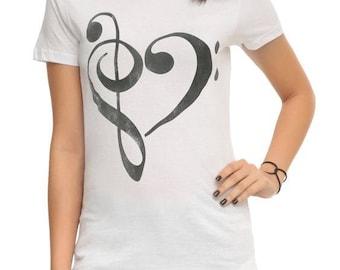 Heartbeat treble bass clef music t-shirt