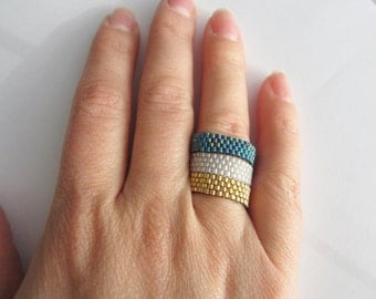 Miyuki ring, band ring, simple beads ring, beaded rings, women peyote ring, seed beads ring, friend gift, peyote jewelry
