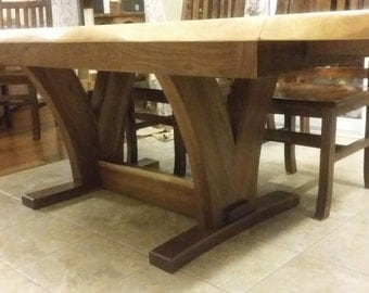 Gorgeous Live Edge Black Walnut Table with Extensions and Tressle Base, Live Edge Table, Live Edge Furniture,