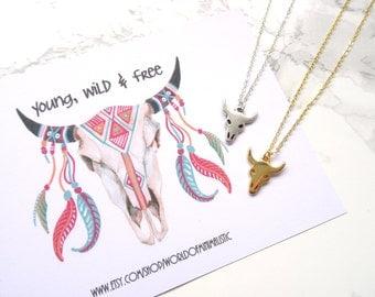 Buffalo skull bohemian necklace, minimalist dainty necklace, everyday simple buffalo skull necklace, boho chic gold necklace, charm necklace