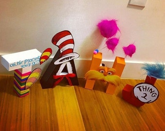 Dr. Seuss Themed Character Letters - Hand Made Character Letters