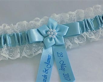 Personalised Bridal/Wedding Garter. Ivory lace with blue satin trim. Personalised with names & date.