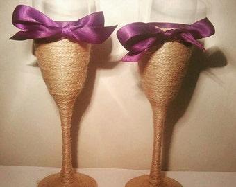 Rustic Twine Champagne Glasses Wedding Keepsake pair