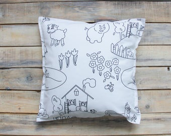 READY TO SHIP! Painter pillow with Cotton Cover 40x40 cm
