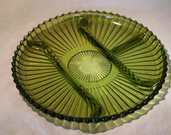 Olive Green Glass Divided Serving Platter