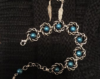 Twisted Turquoise Bracelet and Earrings set.