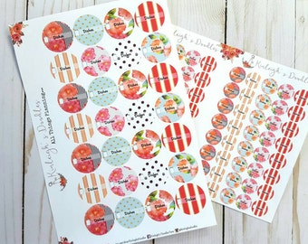 DISHES // Floral Circle Reminder Check Boxes for Any Planner Traveler's Notebook TN Erin Condren Pocket Insert Personal A6