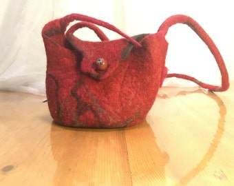 delicious red and black evening handbag, handmade felted wool