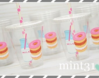 Set of 10 or 20-Donut Party Cups, Lids & Straws, Favor Cups