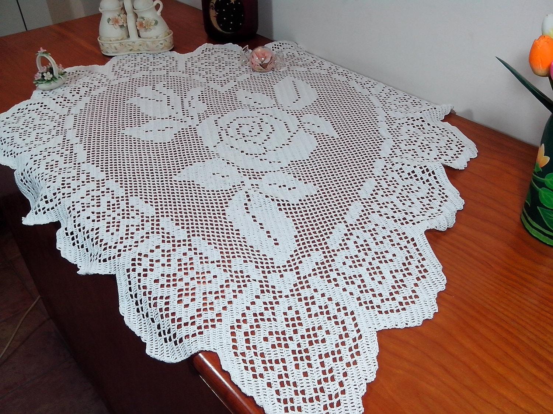 Crochet Doily Lace Large Doily Heart Lace Home Decor White