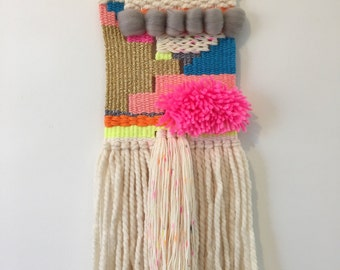 Small Neon Pom Woven Wall Hanging // Weaving // Boho Wall Hanging // Boho Wall Decor // Textile Wall Hanging