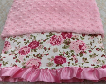 Baby blanket pink minky with cotton with roses and satin ruffle-pink minky receiving blanket with cotton rose print and satin rim
