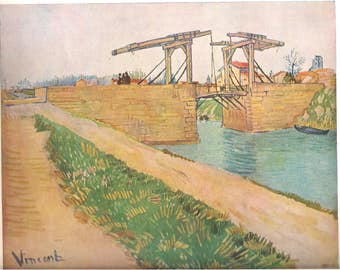 Vincent Van Gogh Vintage Original Art Print Post Impressionist Art Langlois Bridge Dutch Artist 1951
