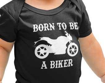 Born to be a Biker Motorbike Bike Father Dad Babygrow Childrens Baby Onesie Gift New Born Baby Gift Romper Suit Baby Grow B4