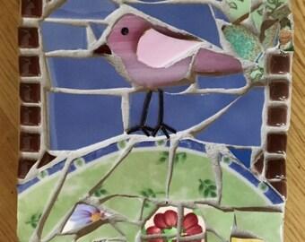 Wee Bird on a Hill Handmade Mosaic