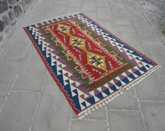 Kilim rug,hand woven Turkish vintage wool rug,decorative wool rug,pileless rug,cottage decor,69 x 45 father day's gift rug,rustic decor