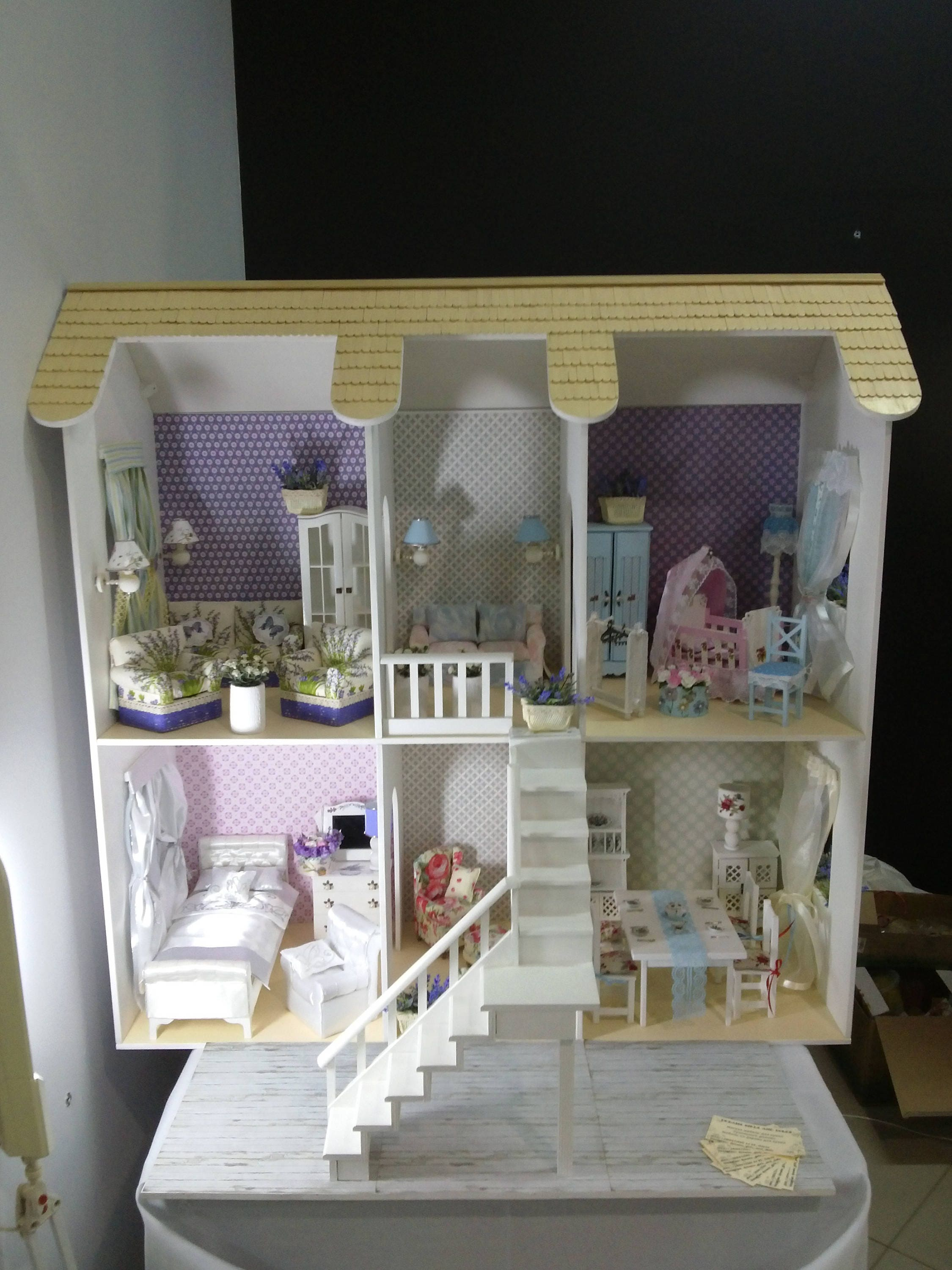Wooden Dollhouse Barbie Doll House Dollhouse Furniture Living
