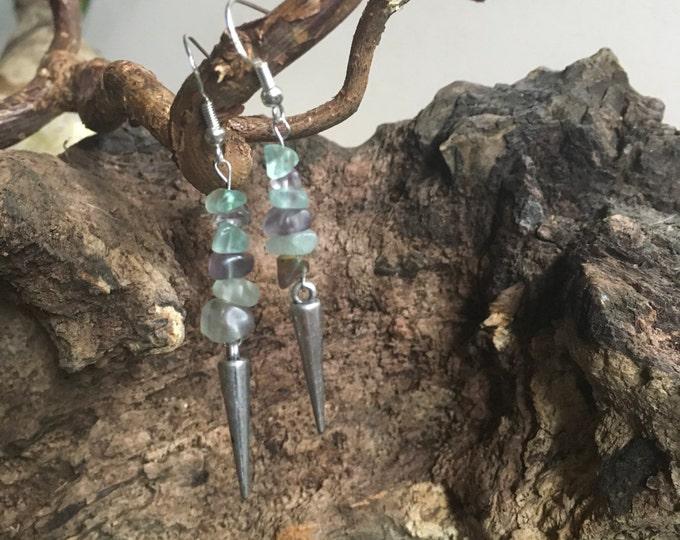 Fluorite Drop earrings with metal spikes