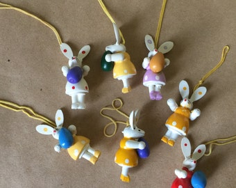Wooden Easter Ornaments Bright Colored Easter Mouse Ornaments Set of Seven