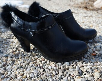Custom Black Leather Ankle Bootie ~ Sz 8.5