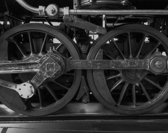 Train wheels, locamotive, picture - black and white photography fine art print