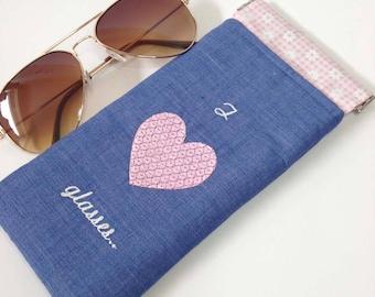 Glasses Case, Gin, Denim, Flex frame sunglasses pouch