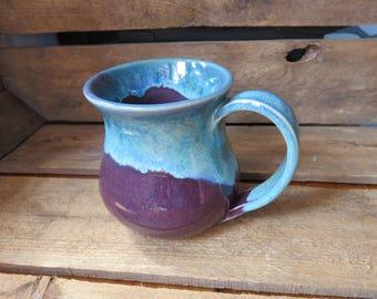 Handmade Mug, Ceramic Mug, Pottery Mug, Big Mug, Large Mug, Coffee Mug, Tea Mug, Purple and Blue Mug, Purple Mug, Stamped Handle, Ceramics,