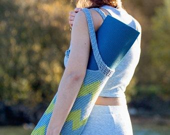 Chevron crocheted Yoga Mat Bag in Green & Grey