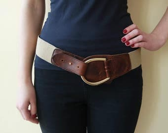Vintage Women's Brown  Waist Belt,  Stretch Belt,  Elastic Belt, Hip Belt