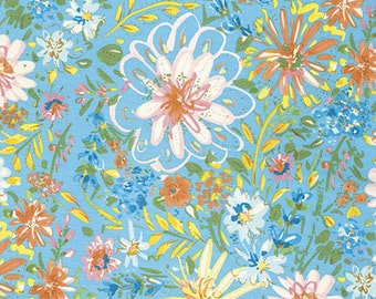 Dena Designs Butterfly Watercolor Floral in Turquoise freespirit cotton quilting blue floral flowers fabric material by the metre yard
