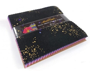 "Laurel Burch Sunrise Charm Pack with Metallic Accents 42 5"" squares cotton precut quilting fabric material pinks purples blue black"