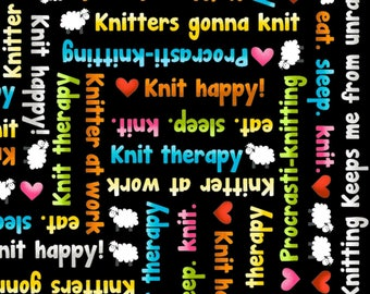 Multicoloured Knitting Words and Phrases on a Black Background by Henry Glass Knit Happy quilting cotton woven fabric by the yard metre