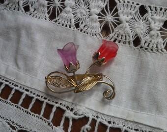 Vintage Frosted Glass Rose Brooch