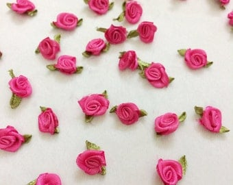 Brilliant Fuscia Pink Baby Satin Rose (20 pcs/  50 pcs),Mini Rose Buds with Leaf Loops for Craft, Mini Craft Flowers, Roses in Bulk