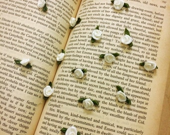Cute White Satin Roses (20 pcs/ 50 pcs), Tiny Craft Rose Buds with Leaf Loops, Rosettes Blanches For Sewing Appliqué, Mini Roses