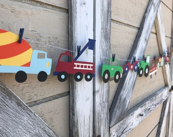 Cars Trucks Trains and Planes Banner - First Birthday - Boy Birthday - Transportation Banner - Automobiles - On The Move - Vehicle Party