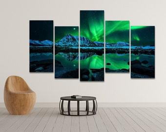 Northern Lights Aurora Borealis Framed Wall Art Hanging