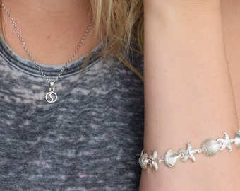 Silver 925 Starfish & Seashell Ocean Link Bracelet, Used Vintage Jewelry