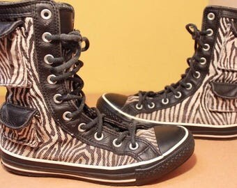 Rare Converse All Star X HI High Top Mens/Womens Boots UK6 Zebra Animal EU39 VGC