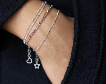 Dainty Silver Bracelet - Beaded Silver Bracelet - Layering Bracelet - Satellite Bead Bracelet - Minimalist Jewelry -  Bohemian Jewelry