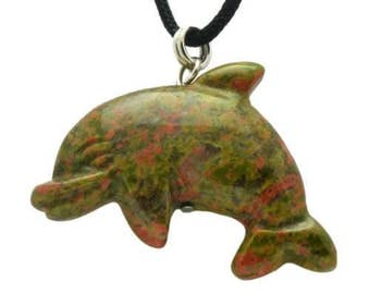 Dolphin Green Unakite Gemstone Pendant Hand Carved Stone Necklace