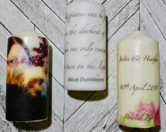 Personalised candle, one pillar candle can hold any image, pattern or text