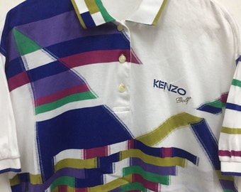 Rare Vintage 90's Kenzo Golf Striking Multicolor Polo Shirt Mens/Women Size 2 Vintage White Kenzo Polo Shirt Kenzo Golf Kenzo Spell Out