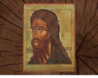 Sant John the Baptist of the Lord Orthodox Icon - Hand Painted on Wood Eggs Tempera - Handmade Byzantine Art  icon  Prophet Baptist