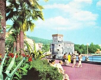 Vintage 60s Italian Riviera Travel Postcard Rapallo Medieval Castle Genoa Italy Real Photo Seaside Promenade Unposted