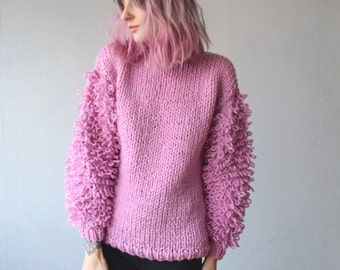 Pink Sweater with Loopy Sleeves. Chunky Sweater. Cozy Pullover. Cute Hand Knitted Sweater. Chunky Knit. Shaggy Sweater